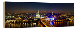 Wood print  A panoramic view of cologne at night