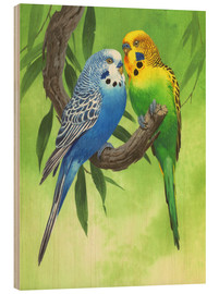 Wood  Budgies on Green Background - John Francis
