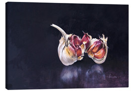 Canvas print  Garlic on black - John Francis