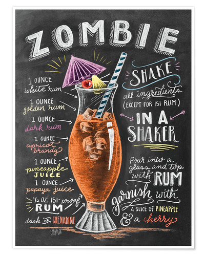 Premium poster Zombie Cocktail recipe