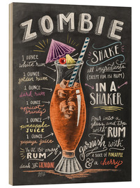 Wood print  Zombie Cocktail recipe - Lily & Val