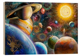 Wood print  Planets in Space and Europe - Adrian Chesterman