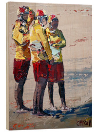 Wood print  Three lifeguards - Claire McCall