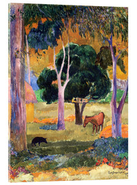 Acrylic glass  Landscape with a Pig and a Horse (Hiva Oa)   - Paul Gauguin