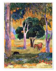 Premium poster Landscape with a Pig and a Horse (Hiva Oa)