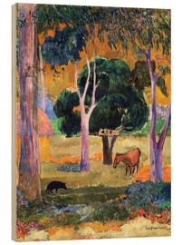 Wood print  Landscape with a Pig and a Horse (Hiva Oa) - Paul Gauguin