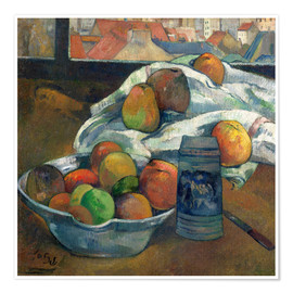 Premium poster bowl of fruit and tankard before a window