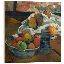 Wood print  bowl of fruit and tankard before a window - Paul Gauguin