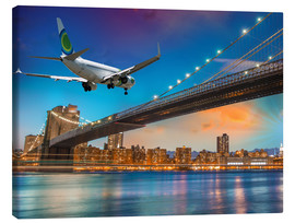 Canvas print  Aircraft flying over Brooklyn Bridge in New York