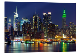 Acrylic print  New York City at night over Hudson river
