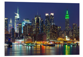 Foam board print  New York City at night over Hudson river
