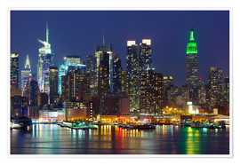 Premium poster  New York City at night over Hudson river