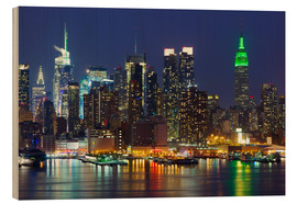 Wood print  New York City at night over Hudson river