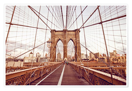 Premium poster New York Brooklyn Bridge and city skyline
