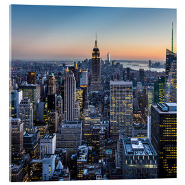 Acrylic print  Empire State Building and skyscrapers at dusk, New York
