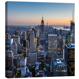 Canvas print  Empire State Building and skyscrapers at dusk, New York