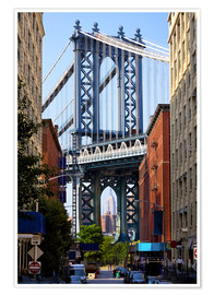Premium poster  Manhattan Bridge and Empire State Building