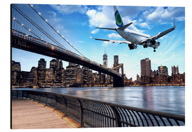 Aluminium print  Aircraft flying over New York City