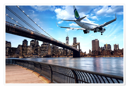 Premium poster Aircraft flying over New York City