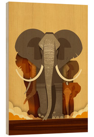 Wood print  Elephants - Dieter Braun