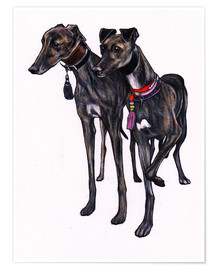 Poster  Brindle greyhounds - Jim Griffiths