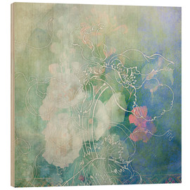Wood print  Abstract flowers - Aimee Stewart