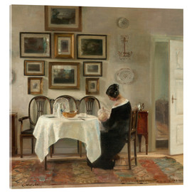 Acrylic print  Mother and child in a dining room interior - Carl Holsøe
