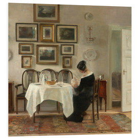 Foam board print  Mother and child in a dining room interior - Carl Holsøe