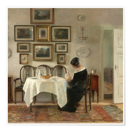 Poster  Mother and child in a dining room interior - Carl Holsøe