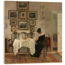 Wood print  Mother and child in a dining room interior - Carl Holsøe