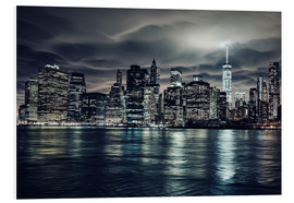 Foam board print  Manhattan at night, New York City