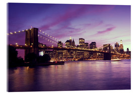 Acrylic glass  Brooklyn Bridge and Manhattan at purple sunset