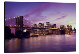 Alu-Dibond  Brooklyn Bridge and Manhattan at purple sunset