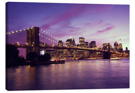 Canvas print  Brooklyn Bridge and Manhattan at purple sunset