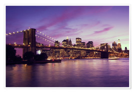 Premium poster Brooklyn Bridge and Manhattan at purple sunset