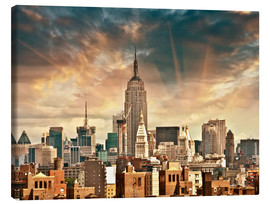Canvas print  Manhattan Skyscrapers with beautiful sky colors