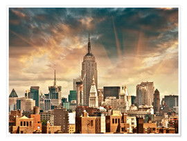 Premium poster  Manhattan Skyscrapers with beautiful sky colors