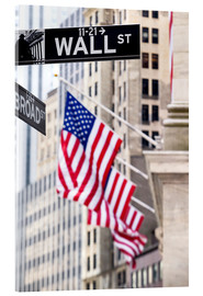 Acrylic print  Wall street sign, New York Stock Exchange