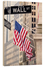 Wood  Wall street sign with New York Stock Exchange