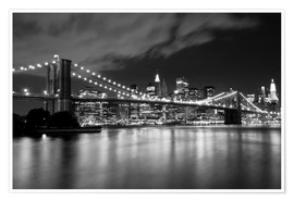 Premium poster Brooklyn Bridge - Night scene