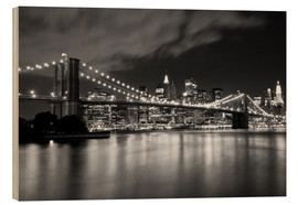 Wood print  Brooklyn Bridge - Night scene