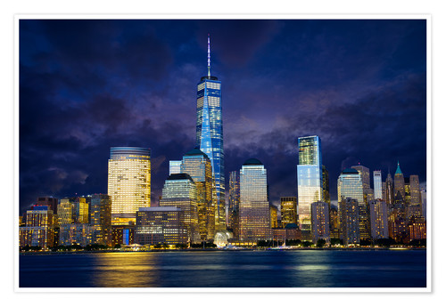 Premium poster Manhattan skyline at night