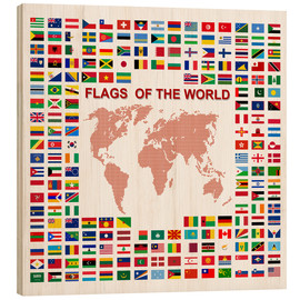 Wood print  Flags of the world