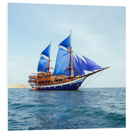Foam board print  Vintage Wooden Ship with Blue Sails