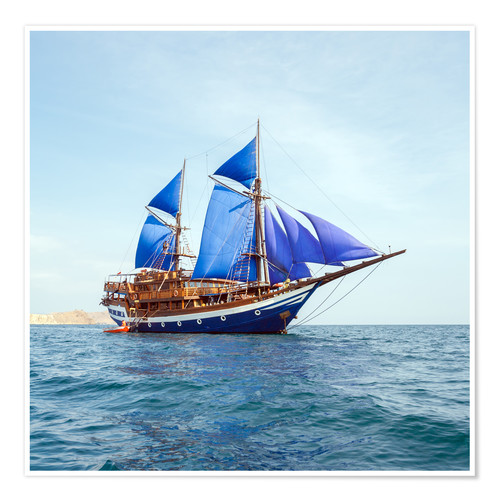 Premium poster Vintage Wooden Ship with Blue Sails