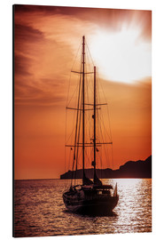 Aluminium print  Old ship sailing to the sunset