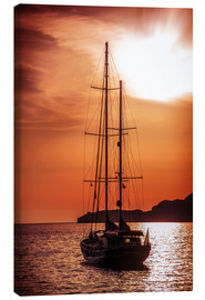 Canvas  Old ship sailing to the sunset