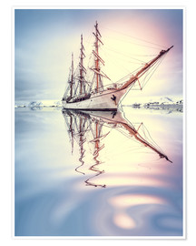 Premium poster  Sailboat against glacier in Antarctica