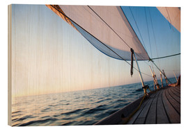 Wood print  Sailing to the sunrise