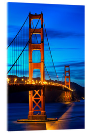 Acrylic print  Golden Gate Bridge at sunset, San Francisco